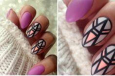 geometryczne matowe paznokcie na hybrydzie + tutorial