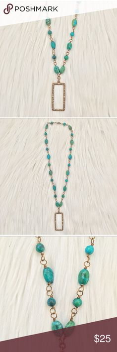 HANDCRAFTED NATURAL BLUE-GREEN & BRASS NECKLACE NEW, HANDCRAFTED.  GORGEOUS BRASS WIRE WRAPPED BLUE-GREEN NATURAL STONE NECKLACE WITH BRASS PENDANT adorned by amie Jewelry Necklaces