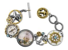 Nautical Bracelet, Nautical Jewelry, Vintage Nautical, Compass, Mars, Sterling Silver Jewelry, Vintage Inspired, Cufflinks, Vintage Bracelet