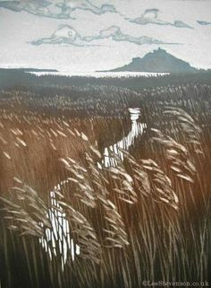 Lee Stevenson : Marazion Marshes with St. Michael's Mount in the distance Etching with aquatint Edition of 100 215mm x 290mm