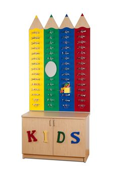 Kids Pencil Wall Display and matching Credenza. Display frames in a fun way! #OpticalMerchandising #DisplayFurniture #KidsDisplays http://www.fashionoptical.com/products