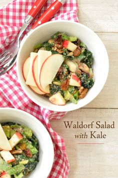 The recipe for this Kale Waldorf Salad comes from Whole Foods Market.  It's deliciously sweet with apples!