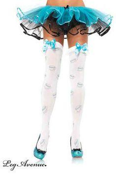 Music Legs Bas Opaques Autofixants Blancs Noeuds satin/és Turquoise