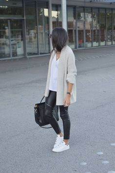 Jacket, white t-shirt, leather jeans, sneakers