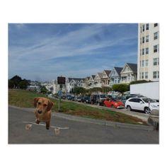 Skateboardding Dachshund Poster - dog puppy dogs doggy pup hound love pet best friend