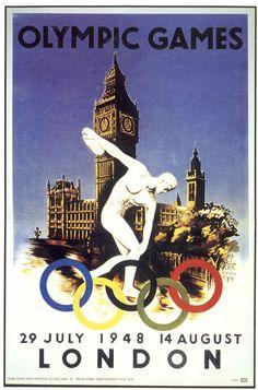 Juegos Olímpicos de Londres 1948,Inglaterra-Afiche.Los Juegos Olímpicos de Londres 1948 fueron los primeros que pudieron verse por televisión.