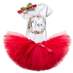 Baby Girl Birthday Outfits Floral Romper Tutu Skirts Headband Summer Clothes Set -- Find out more about the great product at the image link. (This is an affiliate link) Baby Girl Birthday Dress, 1st Birthday Outfits, Birthday Dresses, 1st Birthday Girls, Baby Girl Newborn, Baby Girl Romper, Baby Dress, Baby Girls, Princess Dress Patterns