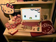 Hello Kitty themed desk kawaii