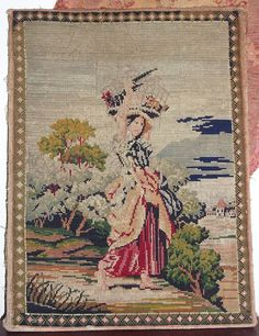 Antique Berlin Woolwork Needlepoint Picture, Sampler | eBay