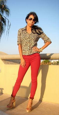 22130632cd Cheetah print with red pants and gold accessories-leggings. I am soooo  wearing this  )