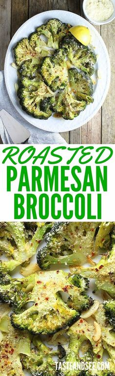 Roasted Parmesan #Broccoli - Roasted with olive oil, Parmesan cheese, sliced garlic, and finished with lemon zest. Super simple & healthy, this is a yummy, easy veggie dish. http://tasteandsee.com