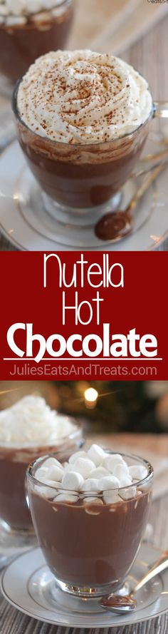 Nutella Hot Chocolate ~ Quick and Easy Hazelnut Flavored Nutella Hot Chocolate! Perfect to Warm up with on Chilly Winter Days! via @julieseats