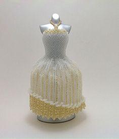 OOAK Miniature Bead Dress: Elegant Gold Wedding by pinkythepink