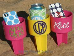 Monogrammed Beach Drink Holder Sand Spiker by happythoughtsgifts, $14.00