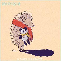 1366 影法師 a shadow #illustration #hedgehog #panda #イラスト #ハリネズミ #パンダ #なみはりねずみ