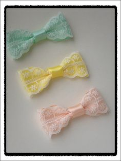 Beautiful Lace satin bow hair clips by SayYouLove on Etsy, $4.99