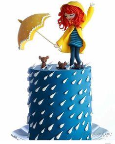 Dacing in the rain cake. Dacing in the rain cake. Dacing in the rain cake. Pretty Cakes, Cute Cakes, Beautiful Cakes, Amazing Cakes, Fondant Cakes, Cupcake Cakes, Dress Cupcakes, Rain Cake, Bolo Original