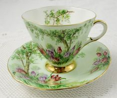 Windsor Green Tea Cup and Saucer with Trees and Tulips, Square Tea Cup, Vintage…