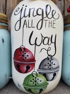 Set of Three Jingle all the Way Jars, Hand Painted Mason Jars, Christmas Mason jars, Jingle All The Pot Mason, Mason Jar Crafts, Bottle Crafts, Mason Jar Art, Christmas Rock, Christmas Projects, Holiday Crafts, Dollar Store Christmas, Christmas Mason Jars