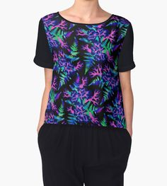 """Coral Carnation - Dark blue/purple"" Chiffon Tops by Andrea Stark   Redbubble botanical watercolor flowers leaves Women's wear. tshirt floral"