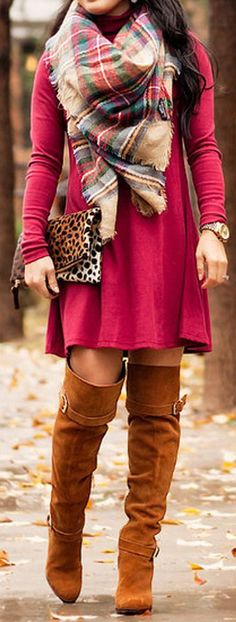 #fall #outfits / red dress + tartan scarf
