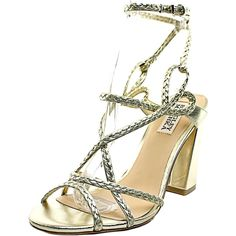 Badgley Mischka Women's Cydney Dress Sandal, Platino, 6.5 M US. Metallic dress sandal featuring braided upper and adjustable ankle strap with buckle closure. Covered block heel.