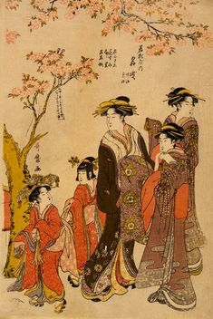 Kitagawa Utamaro, Courtesans Strolling Beneath Cherry Trees Before the Daikokuya Teahouse, ca.1789