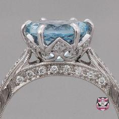Edwardian Aquamarine Engagement Ring - the main setting looks like a crown.
