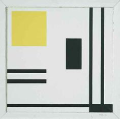Marlow Moss (British, 1890-1958), White, yellow and black, 1953. Oil on canvas, 69 x 69 cm.