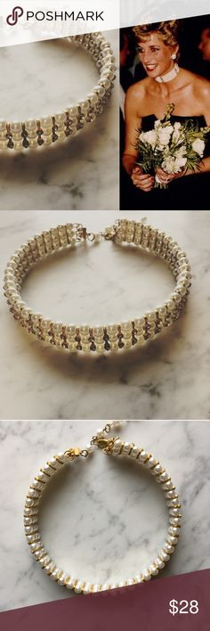 Vintage Princess Diana Style Faux Pearl Choker Glamorous faux pearl and rhinestone triple strand choker. So beautiful and fun, perfect for all those who love old Hollywood glamour. Necklaces like this were popularized by Grace Kelly, Princess Diana and Lauren Bacall. Vintage Jewelry Necklaces