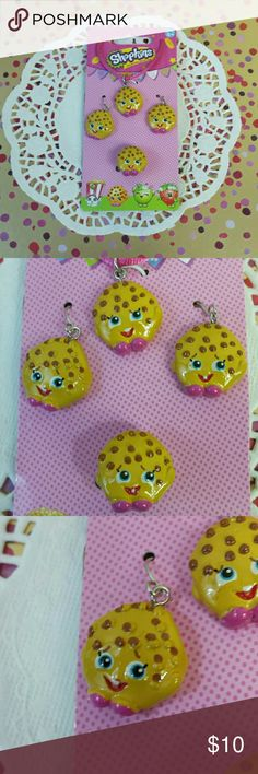 Shopkins Childrens 3-piece Jewelry Set Age5 and up Earrings, Necklace, and Ring. Featuring Kooky Cookie ***For ages 5 and up*** Shopkins Accessories Jewelry