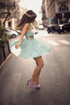 pastel blue dress, cut-out, lavender shoes, pretty <3