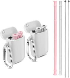 Amazon.com: Yoocaa Reusable Silicone Collapsible Straws - 2 Pack Portable Drinking Straw with Carrying Case and Cleaning Brush, BPA Free - Pink & Gray: Kitchen & Dining