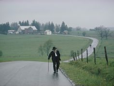 An 81 Year Old Amish Man Walks to the Amish Church on Sunday Morning Photographic Print by Robert Madden at Art.com