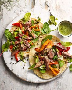 Lamb and pepper flatbreads with caper dressing | delicious. magazine Midweek Meals, Weeknight Meals, Quick Meals, Easy Lamb Recipes, Lunch Recipes, Healthy Recipes, Delicious Magazine, Lebanese Recipes, Fun Cooking