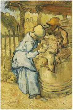 Sheep-Shearers, The (after Millet) by Vincent Van Gogh   Painting, Oil on Canvas   Saint-Rémy: September, 1889