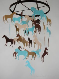 Horse Decorative Mobile in Aqua Blue and Browns by whimsicalaccents on Etsy. Cowgirl, cowboy nursery or bedroom decor.