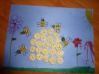 """Bible Lesson Week 8:  H; Scripture:  """"Gracious words are like a honeycomb, sweetness to the soul and health to the body."""" ~Proverbs 16:24; Snack:  Honey-Nut Cheerios; Craft:  Honeycomb cereal pictures.  (Needed: Blue paper, honeycomb cereal, bee stickers, glue.)"""