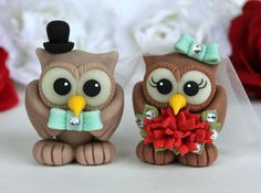 Robin egg blue and red owl wedding cake topper  by PerlillaPets