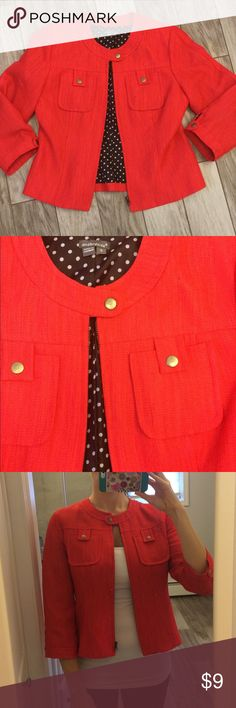 Coral Blazer Coral blazer with polkadot inside. Gold details and zipper. So cute for the office or dressed up with jeans t.j maxx Jackets & Coats Blazers