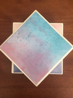 Blue tile coasters watercolor coasters blue by KCstylejewelry