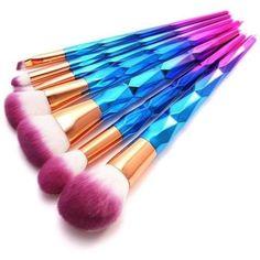 Rainbow Hair Contour Makeup Brush Set Blue Diamond Foundation Eyeshadow Cosmetic Brush Blusher Powder Contour Make-up Brush Hair Contouring, Contour Makeup, Makeup Brush Set, Beauty Makeup, Unicorn Brush, Unicorn Makeup, Mermaid Makeup, Rainbow Makeup, Rainbow Hair