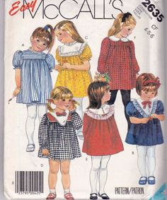 McCalls Sewing Pattern #2635 Girls Childrens Size 4 5 6 Easy 1986 Uncut FF #McCalls