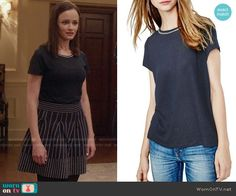 Rory's navy tee with embellished neckline on Gilmore Girls: A Year in the Life. Outfit Details: https://wornontv.net/62608/ #GilmoreGirls
