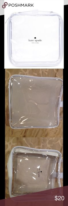 """KATE SPADE CLEAR COSMETIC BAG 🚫trades Brand new Kate Spade clear toiletry bag. Small clear bag is perfect for carrying toiletry items or makeup for travel or use it alone as a clear purse.  Also great as a TSA travel bag. About 8"""" length around and about 3""""depth. KATE SPADE  Bags Cosmetic Bags & Cases"""