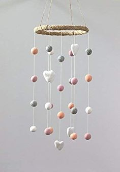 online shopping for Felt Ball & Heart Nursery Ceiling Mobile- Peach, Pink, Gray & White from top store. See new offer for Felt Ball & Heart Nursery Ceiling Mobile- Peach, Pink, Gray & White Baby 1st Birthday Gift, 16th Birthday Gifts, Happy Birthday, Mobiles, Personalized Leather Wallet, Baby Mobile, Small Bouquet, Childrens Room Decor, Felt Ball