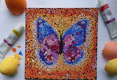 Easter is a great holiday for everybody in the house. You can be very creative after this family holiday. Don't toss the eggshells away, use them and make some art installation. The eggshell mosaic art decoration would be great finish… 3d Paper Crafts, Arts And Crafts, Art D'oeuf, Mosaics For Kids, Carbonate De Calcium, Eggshell Mosaic, Diy Design, Diy Butterfly, Mosaic Diy
