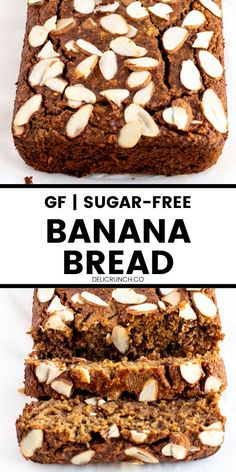 Amazingly tasty and moist flourless banana bread with only 5 ingredients   it's gluten free, sugar-free, oil-free! Just so healthy! Gluten Free Recipes For Kids, Gluten Free Vegetarian Recipes, Gluten Free Baking, Gluten Free Desserts, Healthy Baking, Easy Desserts, Delicious Desserts, Dessert Recipes, Yummy Food