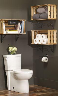 Crate Furniture, Diy Pallet Furniture, Diy Bathroom Decor, Small Bathroom, Bathroom Ideas, Bathroom Bath, Bathroom Storage, Master Bathroom, Backyard Renovations