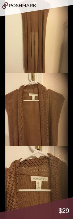 Forever 21 longline sweater Camel colored, just perfect for summer into fall! Pair with a high waisted pair of denim shorts💕 never worn. Forever 21 Tops Tunics